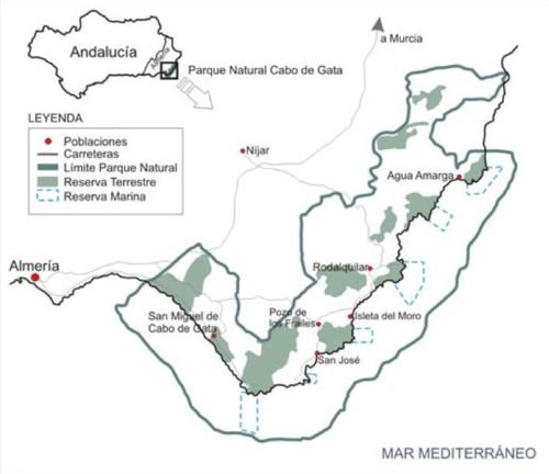 mapa cabo de gata parque natural